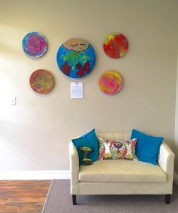 #ArtBeatForHumanity drums are on display at the offices of Laura Bromlow in Los Alamitos